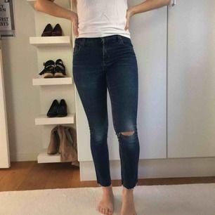 Jeans från cheap monday, sitter bra och är väldigt sköna, ett hål på ena knät och avklippta i slutet av byxbenen. Hämtas i Uppsala eller skickas, i så fall står köparen för frakten.