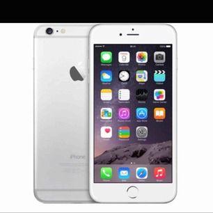 Säljer en iPhone 6 silver 32GB Inget för fungerar med 100% batteri hälsa (nytt batteri) 6 skal ingår och även laddare (även ett extra rött skal)