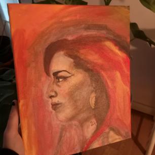 Egenmålad tavla, inspirerad utseendemässigt av Amy Winehouse. Pris diskuteras gärna
