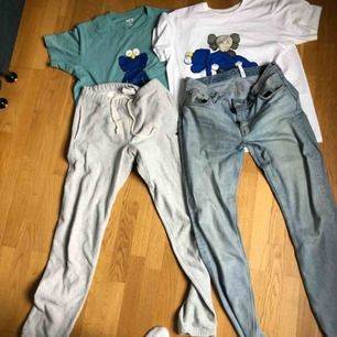 Weekday Sunday 32:34 250kr Kaws tshirt blå Storlek M 250kr Kaws tshirt vit storlek L 250kr Champion sweatpants storlek M 200kr fläck finns