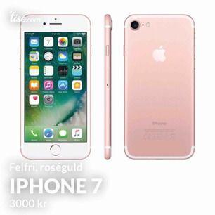 iPhone 7 i färgen roséguld fungera precis som den ska och är exakt som ny. telefonen är låst till abonnemanget 3 men kan enkelt låsas upp för ca 200kr om så önskas, hör gärna av dig vid fler frågor!! Priset kan också diskuteras! Kan fraktas