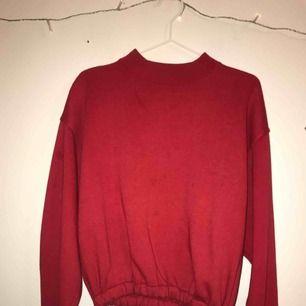 Supersnygg röd sweatshirt köpt från beyond retro. Uppsud där nere med ett resårband. Aldrig andvänd och som ny. Står att det är en L men pågrund av att den är uppsydd skulle jag anse att det är mer som en S