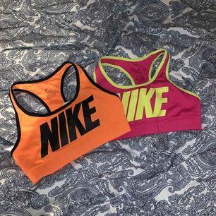 Två sporttoppar från Nike i stl XS, 25/st