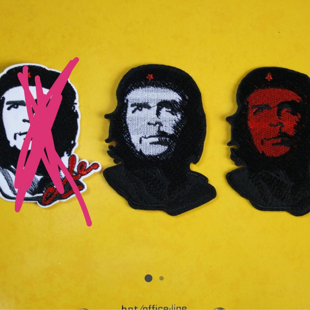 Tygmärke med Che Guevara på! En av dem för 29kr inkl frakt. Vänster såld Ca 9x6 cm. Övrigt.