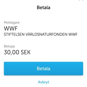 Första plagget sålt! Skickat pengarna till WWF! 😍