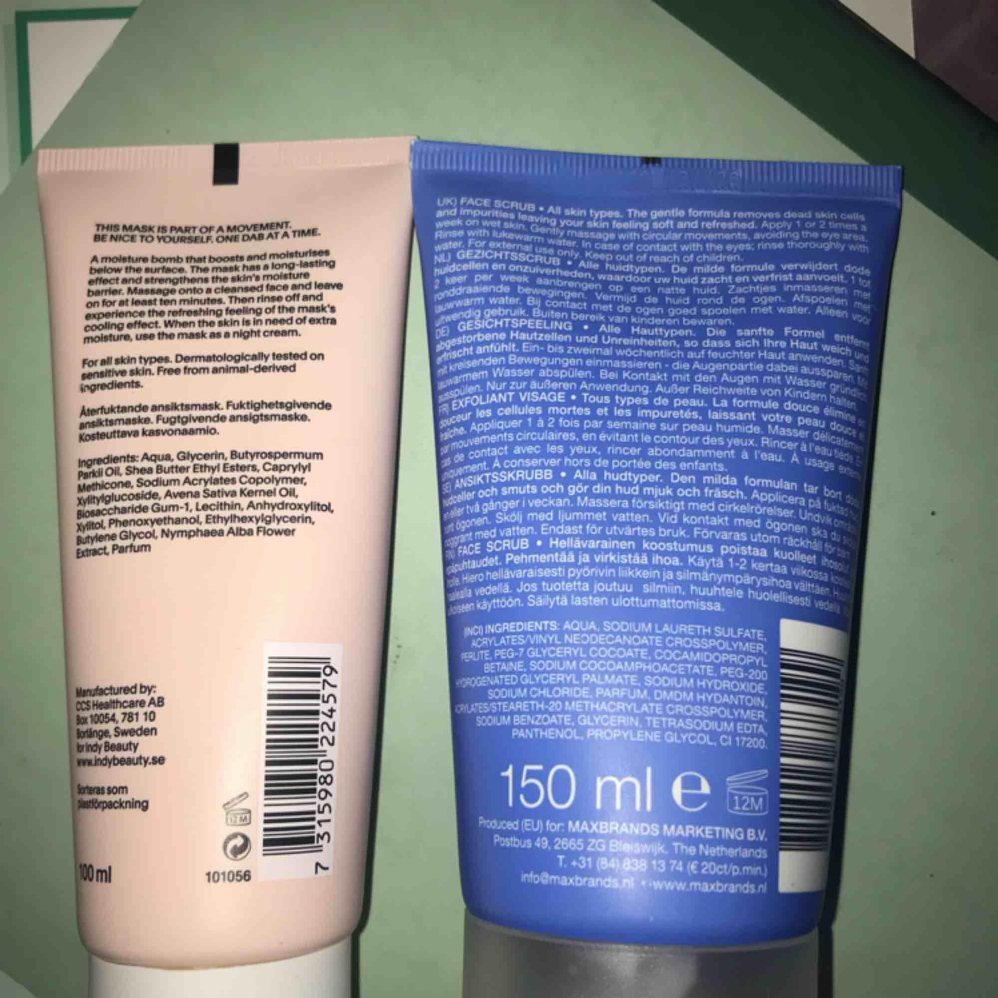 Säljer en ansiktsmask från indy beauty (Therese Lindgrens hudvårdsmärke)  Oanvänd, den är inte ens öppnad:) 50kr  Säljer även en ansiktsskrubb, också oanvänd! 20kr. Accessoarer.