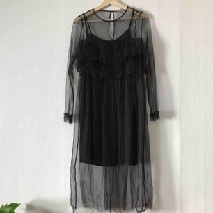 Sååå fin svart meshklänning med volanger och spets. Underklänningen ingår. Perfekta höstklänningen men kommer tyvärr inte till användning hos mig. 🍂🎃
