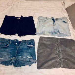 Paketpris 270kr+frakt. Allt är ifrån h&m, 3st jeansshorts och en mocka imiterad kjol som är SÅ SNYGG och skön!! Pris kan diskuteras om du bara vill köpa en av dem.🦋🦋 skriv om du vill ha bilder på:)