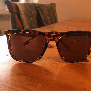Solglasögon okänd märke. Plast men guldiga metall detaljer