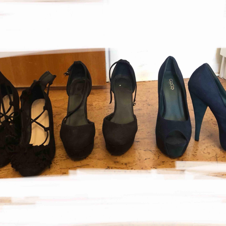 Sparsamt använda klackskor storlek 38 och 39. Skor.