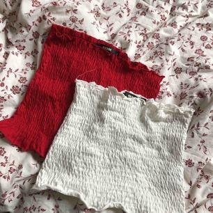 Två stycken tubtoppar från bikbok, en röd och en vit. Sparsamt använda. 100kr för båda