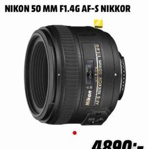 Oöppnad nikon 50mm 1,4 lens Helt ny Säljes pga felköp köpt för 4890kr