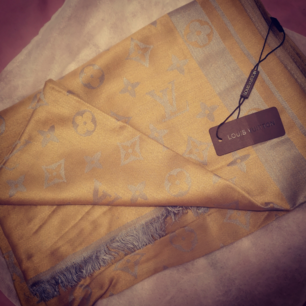Louise Vuitton gold brown silk scarf/wrap (NY)