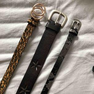 Tre skärp. Leopard, ormskinn & svart med blommor. Det svarta är från Esprit och är väl använt (läder) men fortfarande i fint skick. Leo & orm har jag aldrig använd & kommer inte ihåg vart jag köpte. Alla tre är 100cm och kostar 30kr/styck