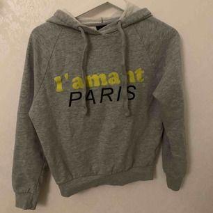 En grå hoodie med text på, den passar även xs