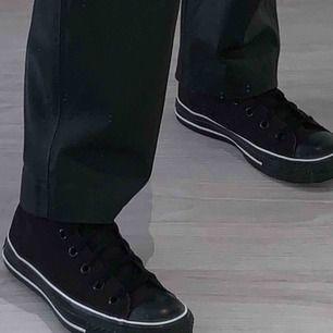Säljer dessa sjukt snygga svarta Converse med vita sömmar. Jag har aldrig använt dem så därför är dem helt nyskick! Frakt tillkommer 😄