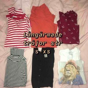 Har lite garderobsrensning! Alla tröjor är i str XS elr S, säljer dom för 50kr styck eller 200kr för alla, kan frakta eller mötas upp i Stockholm