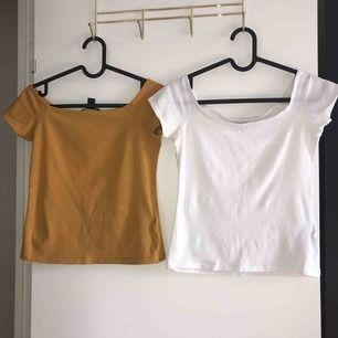 En senapsgul och en vit topp (säljer tillsammans för 50)  Båda i bra sick och ärmarna sitter på armen inte vid axel och bra passform då tröjorna är stretchiga.