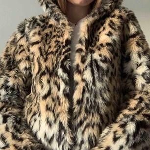 Leopardpäls med luva från hm i storlek 36 men skulle säga att den är mer en 34. Köparen står för frakten