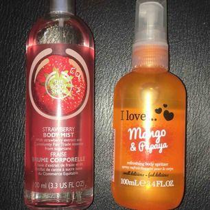 Två nästan oanvända parfymer, en luktar jordgubb och är ifrån the body shop och den andra luktar mango och papaya och är ifrån glitter. Köparen står för frakt.