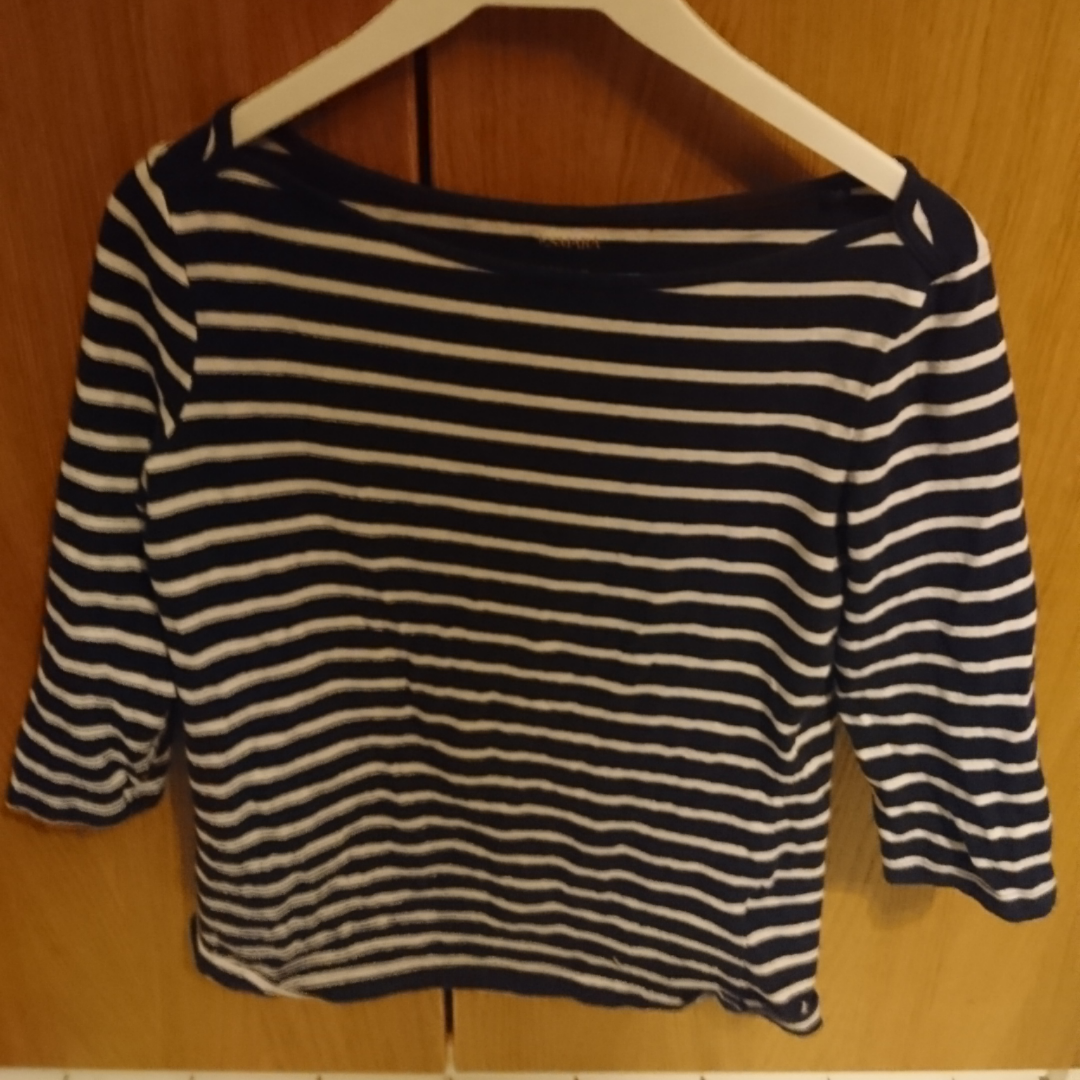 Barely used shorts sleeved shirt with dark blue and white stripes. 95% cotton 5% elastane. T-shirts.