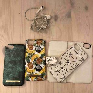 Iphone skal olika mönster. 2st Ideal of sweden (det ena har en trasig kant). Samt 1 plånboksfodral med magnetskal som tillhör. 20kr/st eller allt för 50kr  Passar iphone 6,7 & 8 :)