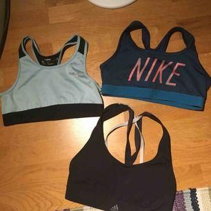 tränings bh:ar  svart från adidas mörkblåa från nike ljusblåa från soc