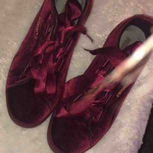 Storlek 37-38. Super fina puma skor i röd/lila ish velvet. Super sköna och så snygga verkligen! Har bytt ut snörerna men de går såklart att byta hemma om man vill ha andra. Du betalar frakt.