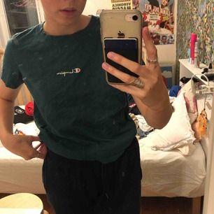 en mörkgrön t shirt från champion, köpt på urban outfitters