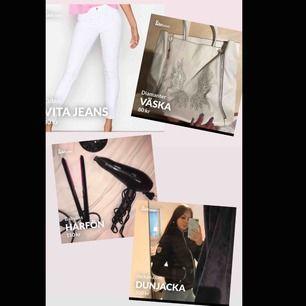 Paket pris,  Vita jeans strl Xs Vit väska  Hårfön, använd 1 gång  Jacka strl 36