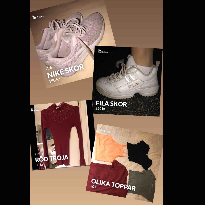 Paket pris Nike skor strl 36,5-37 Fila skor strl 38,5 Röd tröja strl 36 4 toppar strl xs-S. Tröjor & Koftor.