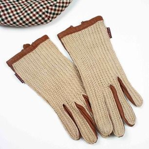 Gaucho crochet leather gloves in beige and brown A tiny hole on the left palm and right thumb, few marks and scuffs SIZE Label: 7 1/2 Measurements: Length: 22 width: 8 Free shipping! Read the full description at our website majorunit.com No returns
