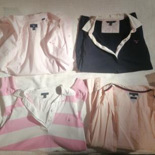 Jag säljer två Gant- tröjor med v-ringning, en rosa/vit och en marinblå. Samt två skjortor, en Gant och en Tommy Hilfiger!!!!! Alla plaggen är i S & M (skriv privat för mer exakt storlek på plaggen). Jättefint skick på alla plagg :))) Obs; köparen står för frakt