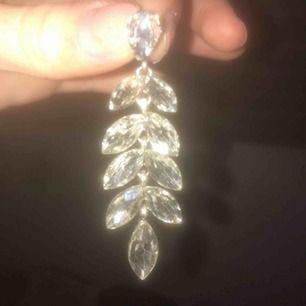 Silvriga långa örhängen liknande blomblad. Säljer av anledning då jag inte använder de längre. Glänser mycket. Är ej äkta silver.