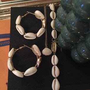 Runda snäck-örhängen  Ett fint snäck-halsband   Super fin chokerhalsband, går att justera storlek.   Allt är från GinaTricot. Allt tillsammans eller 50 kr styck.