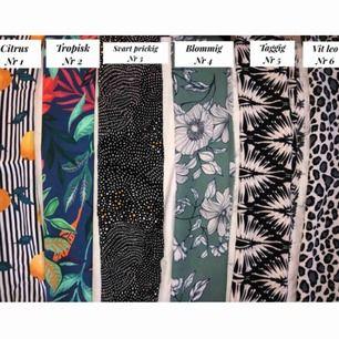 Här är de olika tygerna som jag kan sy hårband av, skriv till mig om du är intresserad och av vilket nummer :)
