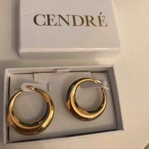 Guldplätterade öronhängen från cendré.