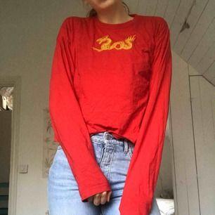 Cool tröja med tryck av en drake på bröstet. Köpt på carlings men nästan aldrig använd. Frakt tillkommer, annars möts jag gärna upp.