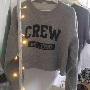 En grå sweatshirt med mörkblått tryck. Den är lite croppad i modellen och är one size. Skulle säga att den passar en medium ungefär men funkar för andra storlekar också beroende på hur man vill att den ska sitta!💙