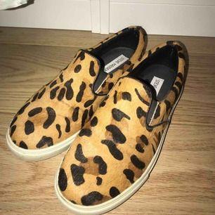 Steve madden slip ons i leopard mönster, endast använda ett fåtal gånger och är därför i nästan nyskick. Äkta skinn. Livar upp tråkiga outfits!! Storlek : 37.5