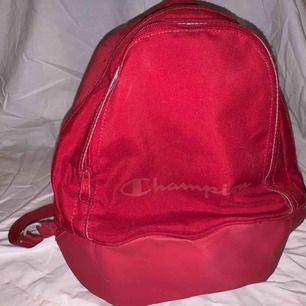 Söt liten ryggsäck från märket champion! Rymlig trots storleken, 2 dragkedjefack och sedan 2 i dessa.
