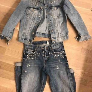 Sett från hm jeans jacka och jeans men coola detaljer jacka storlek 36 jeans 27