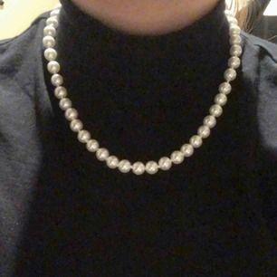 Kort pärlhalsband med silvrigt spänne! Nyskick. Frakt ingår🤩