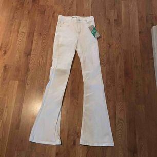 Helt nya vita Boot cut jeans som passar till det mesta. Har aldrig använt dem, eftersom jag inte längre har den storleken.