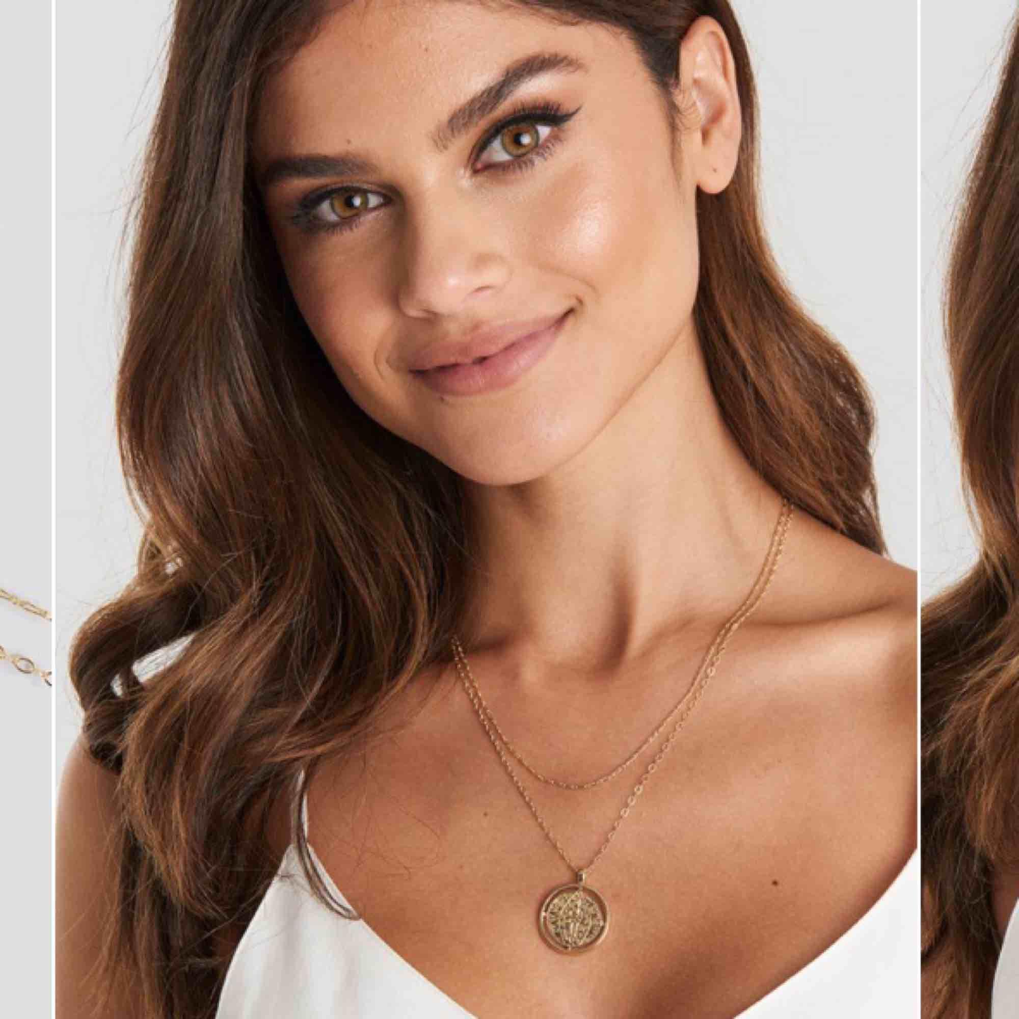 Guldigt halsband, endast använt en gång. Frakt ingår i priset. Accessoarer.