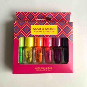Oanvända nagelack 6 metallic nagelack o olika färger (blå,grön,gul,orange,rosa,lila)  30kr