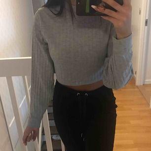 Grå kort långärmad tröja från prettylittlething. Lite liten i halsen