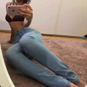 Snygga ljusblåa jeans, slim straight fit