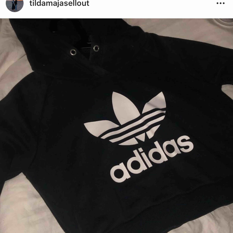 Croppad hoodie från Adidas som max använts tre gånger. Köparen står för frakten!. Huvtröjor & Träningströjor.