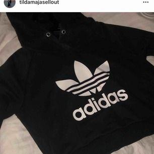 Croppad hoodie från Adidas som max använts tre gånger. Köparen står för frakten!
